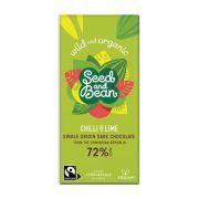 Seed & Bean - Pure Chocolade 72% - Chili peper en limoen - Dominicaanse Republiek BIO - 85 gram