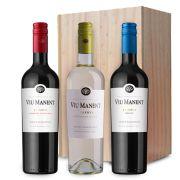 Viu Manent - 3 flessen in houten kist - 0,75